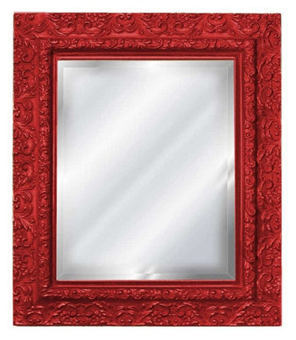 Elegant Embossed Style Wall Mirror, Red Color Finish