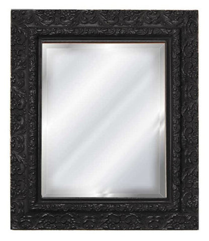 Elegant Embossed Style Wall Mirror, Black Color Finish
