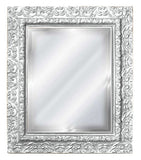 Elegant Embossed Style Wall Mirror, Chalk White Color Finish