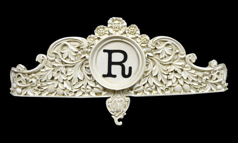 Bed Crown in Old World White Finish with Black Personalized Letter