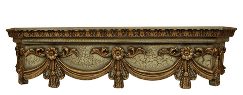 Olde World Cornice Box Style Swag Bed Crown in Verona Finish