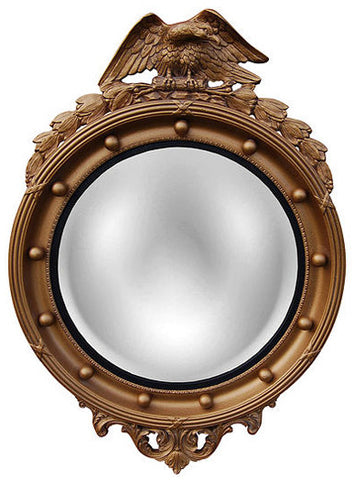 Patriotic Eagle Style 2 Convex Wall Mirror in Antique Gold Color Finish