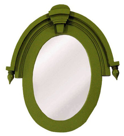 Modern Architectural Window Wall Mirror in Coastal Green Color Finish