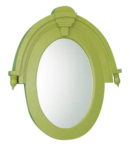 Modern Architectural Window Wall Mirror Antique Reproduction, Luau Green Color Finish