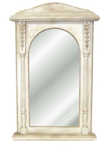 Arched Cornice with Leaf Motif on Fluted Columns Wall Mirror Antique Reproduction in 60 Colors