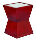 Geometric Design Outdoor Marble Resin Accent Table with Mirrored Top in Antique Chinese Red