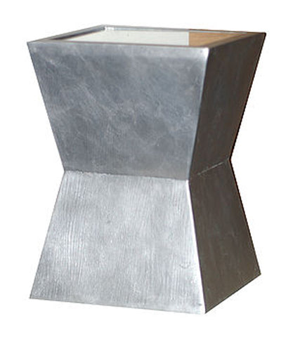 Geometric Design Outdoor Marble Resin Accent Table with Mirrored Top in Silver Leaf