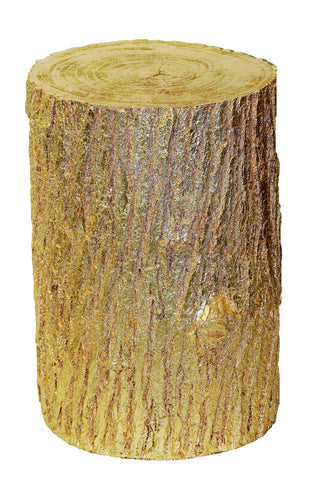 Tree Trunk with Growth Rings Outdoor Accent Table in Gold Leaf Finish