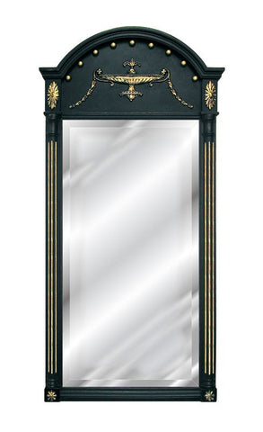 French Motif with Fluted Columns Arched Wall Mirror Antique Reproduction in Gold Leaf and Black Color Finish