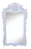 Flamboyant Floral and Acanthus Leaf Wall Mirror Antique Reproduction in Gloss White Color Finish