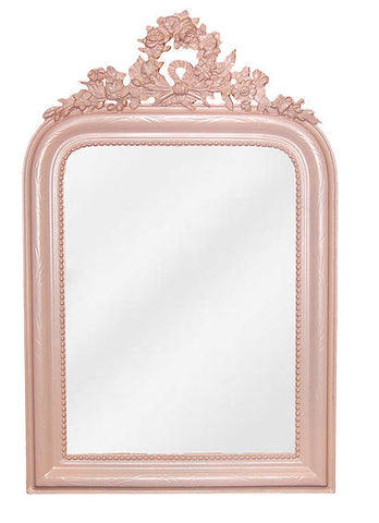 Classic-Style Wreath Wall Mirror Antique Reproduction in Powder Puff Pink Finish