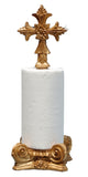 Cross Top Standing Paper Towel Holder, Gold Leaf Color Finish