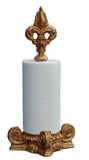 Fleur de Lis Top Standing Paper Towel Holder in Gold Leaf Color Finish