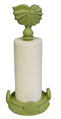 Nautilus Sea Shell Standing Paper Towel Holder, Coastal Green Color Finish