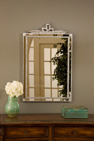 Loop Bow Top Wall Mirror Antique Reproduction, Shimmer Color Finish