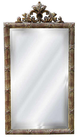Acanthus Leaf Top Wall Mirror Antique Reproduction in Rococo Color Finish