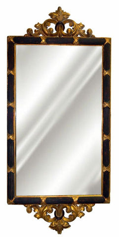 Acanthus Leaf Top & Bottom Wall Mirror Antique Reproduction in Roco Color Finish
