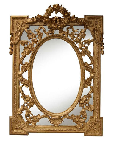 Olde World Grandeur Wall Mirror Antique Reproduction, Gold Leaf Color Finish