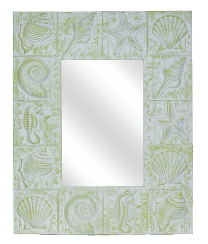 Seaside Sea Shells Motif Wall Mirror in Laguna Green
