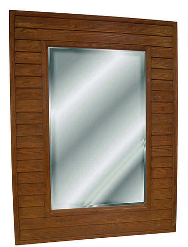 Wood Slats Style Wall Mirror in Red Oak Color Finish