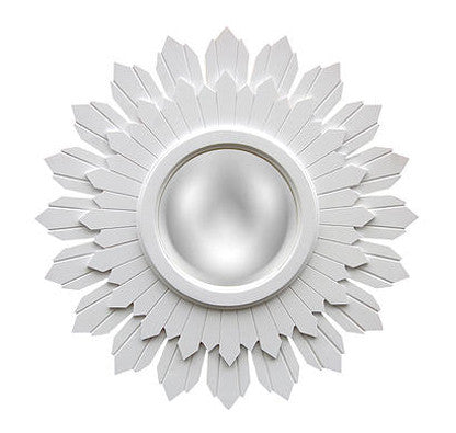 Starburst Wall Mirror Antique Reproduction, Bright White Color Finish