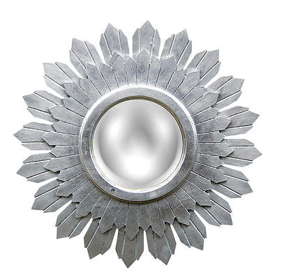 Starburst Wall Mirror in Silver Leaf Color Finish