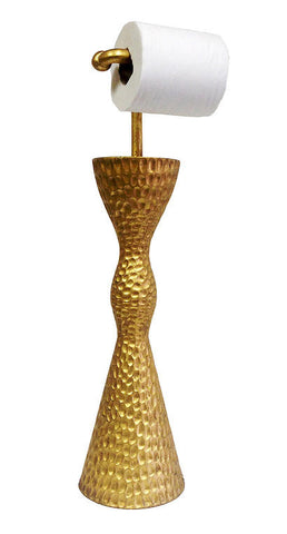 Hammered Design Standing Toilet Paper Holder, Gold Leaf Color Finish