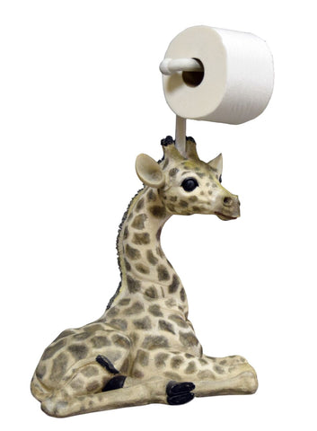 Giraffe Standing Toilet Paper Holder in Hand-Painted Detail