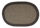 100% All Natural Wool Traditional Braid Oval Rug, HN11 Brown