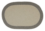 100% All Natural Wool Traditional Braid Oval Rug, HN21 Light Gray