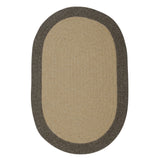 100% All Natural Wool Traditional Braid Oval Rug, HN41 Beige