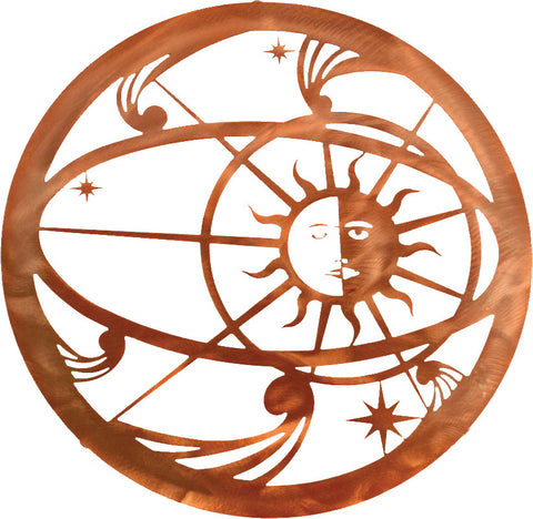 Celestial Sun and Moon Metal Wall Art