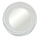 Modern Vogue Round Wall Mirror, Gloss White Color Finish
