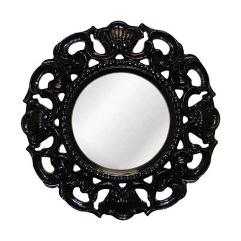 Shell and Scrolled Acanthus Leaf Round Wall Mirror in Gloss Black Finish