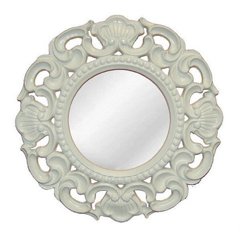 Shell and Scrolled Acanthus Leaf Round Wall Mirror in 60 Colors