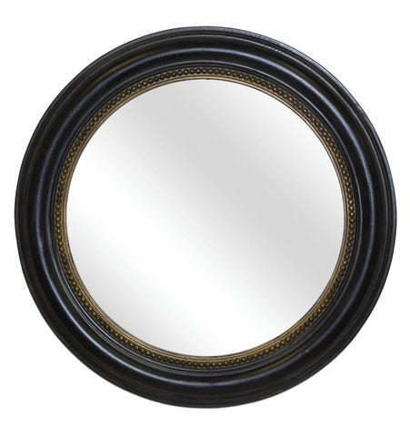 Classic Beaded Round Wall Mirror in Old Black Gold