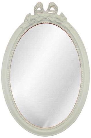 Bow Top Oval Wall Mirror Antique Reproduction, Bright White Color Finish