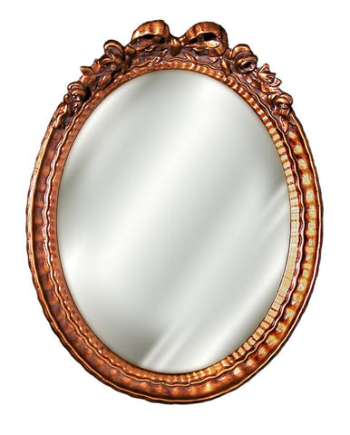 Bow Top with Ornate Frame Oval Wall Mirror Antique Reproduction in 60 Colors
