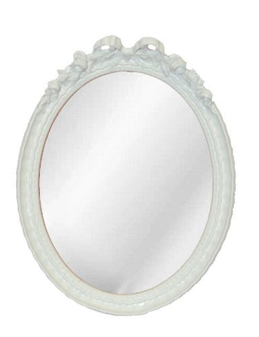 Bow Top with Ornate Frame Oval Wall Mirror Antique Reproduction, Bright White Color Finish