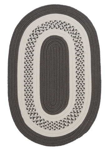 Crescent Indoor Outdoor Oval Braided Rug, NT11 Gray
