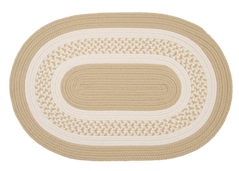 Crescent Indoor Outdoor Oval Braided Rug, NT81 Linen