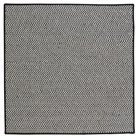 Houndstooth Tweed Indoor Outdoor Square Braided Rug, OT49 Black