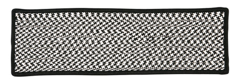 Houndstooth Tweed Indoor Outdoor Braided Rectangle Stair Tread, OT49 Black