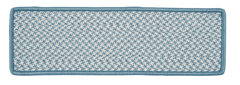 Houndstooth Tweed Indoor Outdoor Braided Rectangle Stair Tread, OT56 Sea Blue