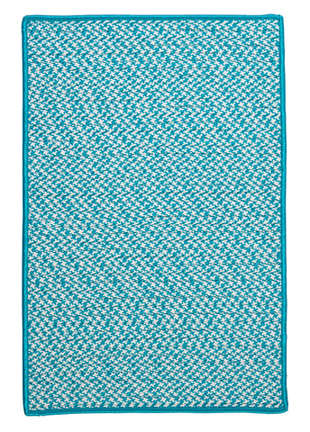 Houndstooth Tweed Indoor Outdoor Rectangle Braided Rug, OT57 Turquoise