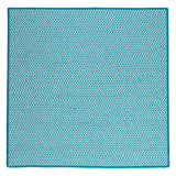 Houndstooth Tweed Indoor Outdoor Square Braided Rug, OT57 Turquoise