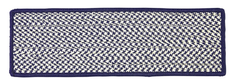 Houndstooth Tweed Indoor Outdoor Braided Rectangle Stair Tread, OT59 Navy Blue