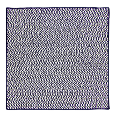 Houndstooth Tweed Indoor Outdoor Square Braided Rug, OT59 Navy Blue