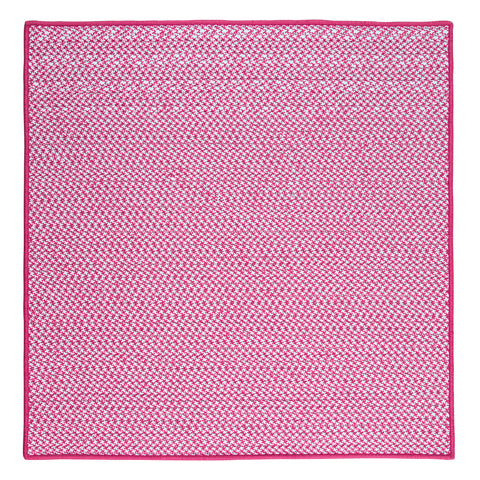 Houndstooth Tweed Indoor Outdoor Braided Square Rug, OT78 Magenta