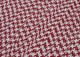 Houndstooth Tweed Indoor Outdoor Braided Rectangle Stair Tread, OT79 Sangria